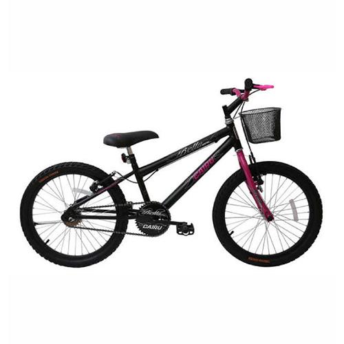 Bicicleta Aro 20 Bella Girl com Cesta - Preto e Rosa