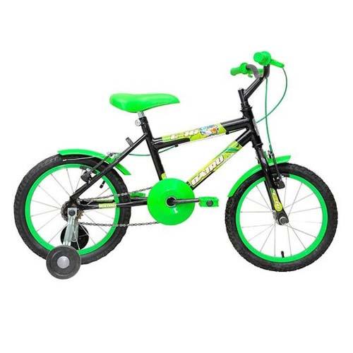 Bicicleta Masculina Aro 16 Freio V-Break Racer Kids Cairu - Preta e Verde