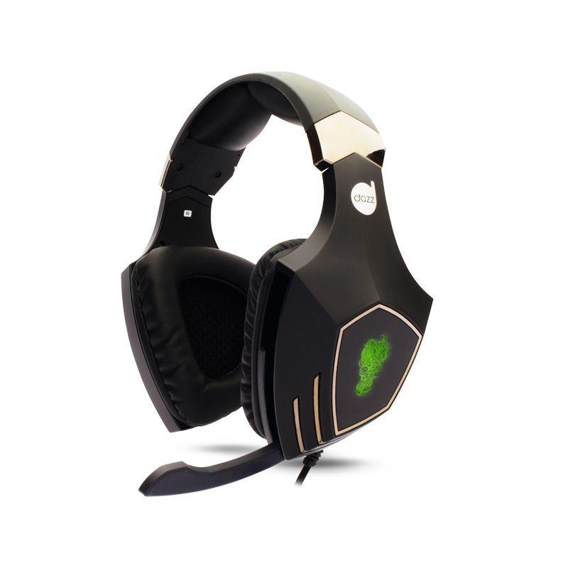 Headset Gamer DAZZ Rock Python 7.1 com vibração - Preto, Cinza e Led Verde