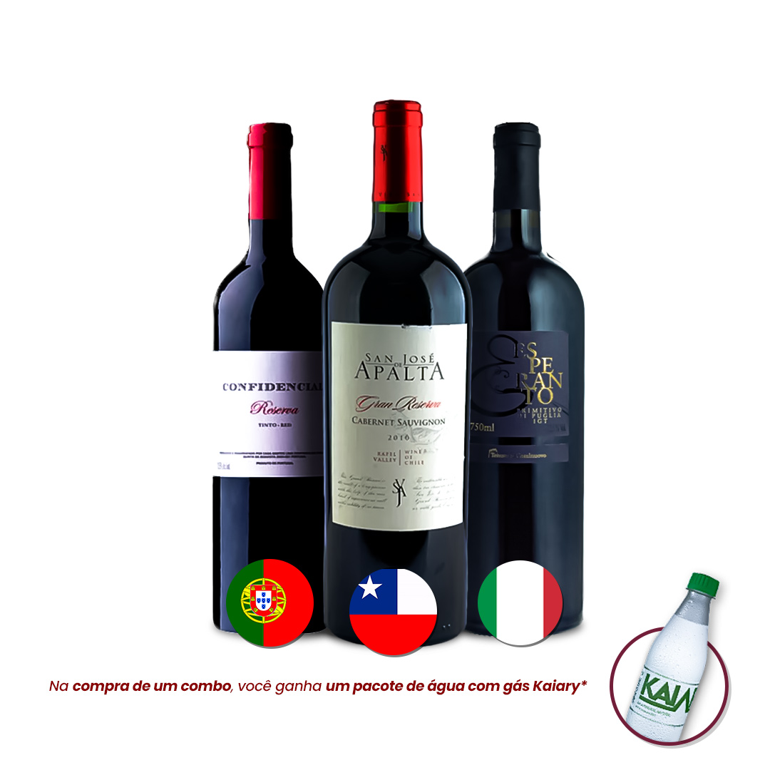 Kit - Vinhos Importados + Brinde Água c/ Gás Kaiary