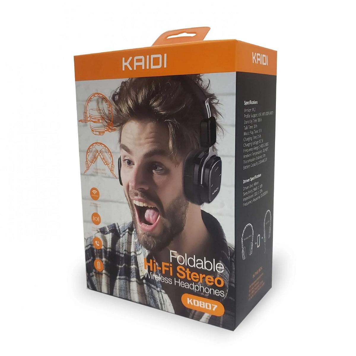 Fone De Ouvido Bluetooth Dobrável S/fio Hi-fi Kaidi Kd807