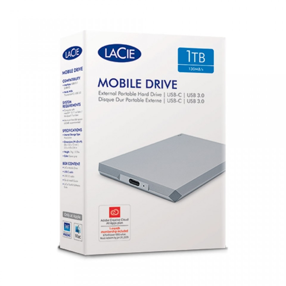 HD Externo Portátil LaCie 1TB Mobile Drive Moon Silver USB-C3.1 Prata