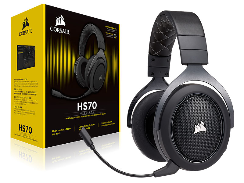 HEADSET -NA HS70 PRO WIRELESS CARBON GAMER WIRELESS CORSAIR