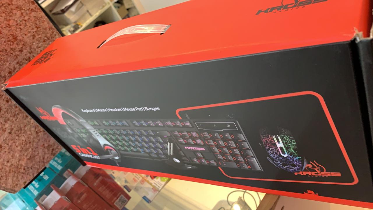 Kit Gamer Kross 5 em 1 Mouse, Teclado, Mouse Pad, Headset e Mouse Bungee KE-GK5150