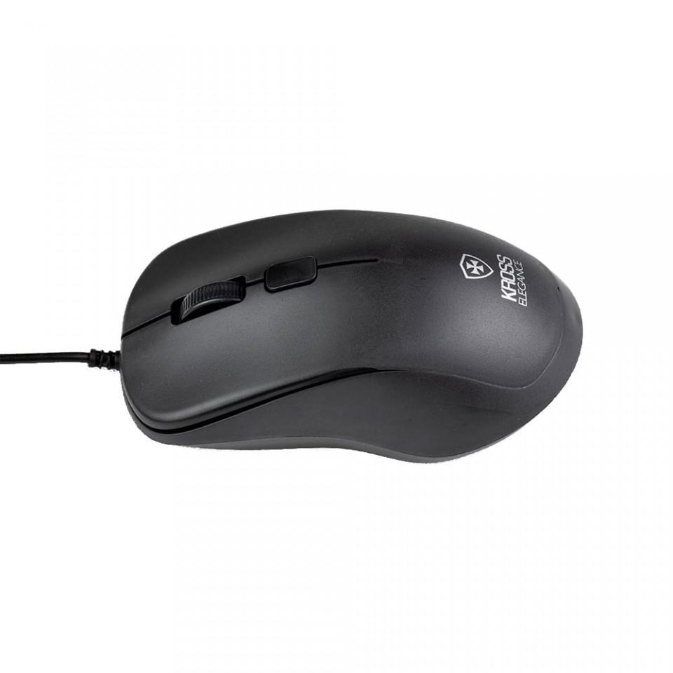 Mouse com Fio Kross USB 1.000 DPI Preto KE-M095