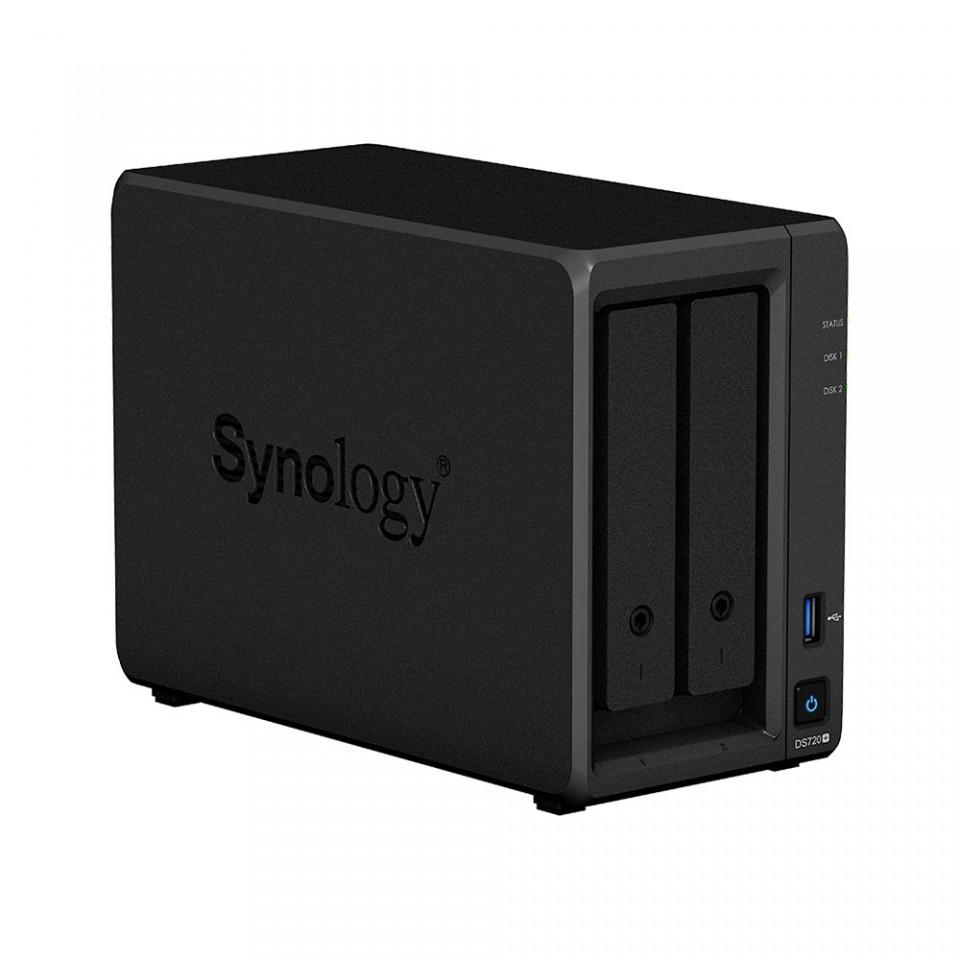 Servidor NAS Synology DiskStation DS720+ com 2 baias expansível a 7 baias, 2 slots SSD M.2 NVMe