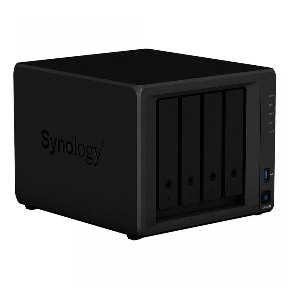 Servidor NAS Synology DiskStation DS920+ com 4 baias expansível a 9 baias, 2 slots SSD M.2 NVMe