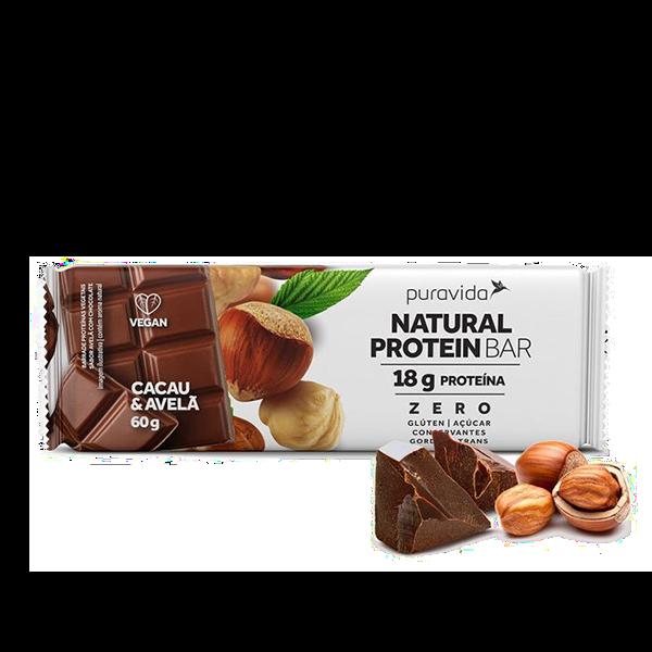 Natural Protein Bar Cacau e Avelã 60g Pura Vida