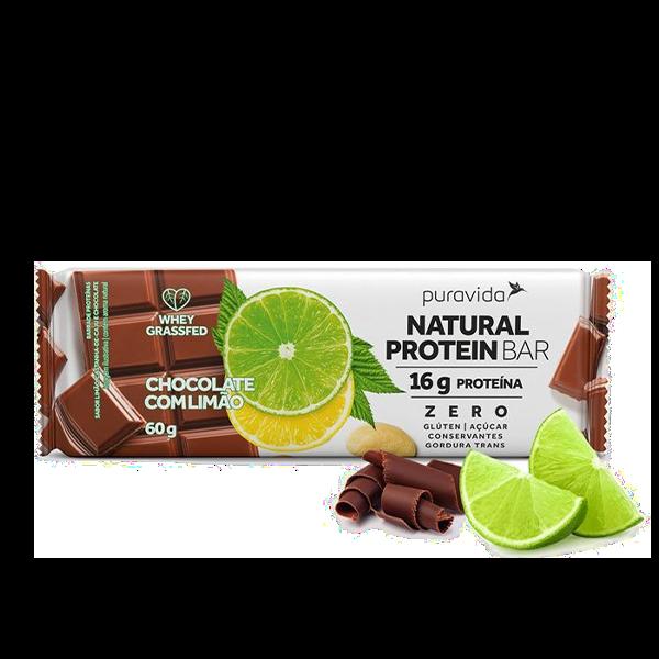 Natural Protein Bar Chocolate com Limão 60g Pura Vida
