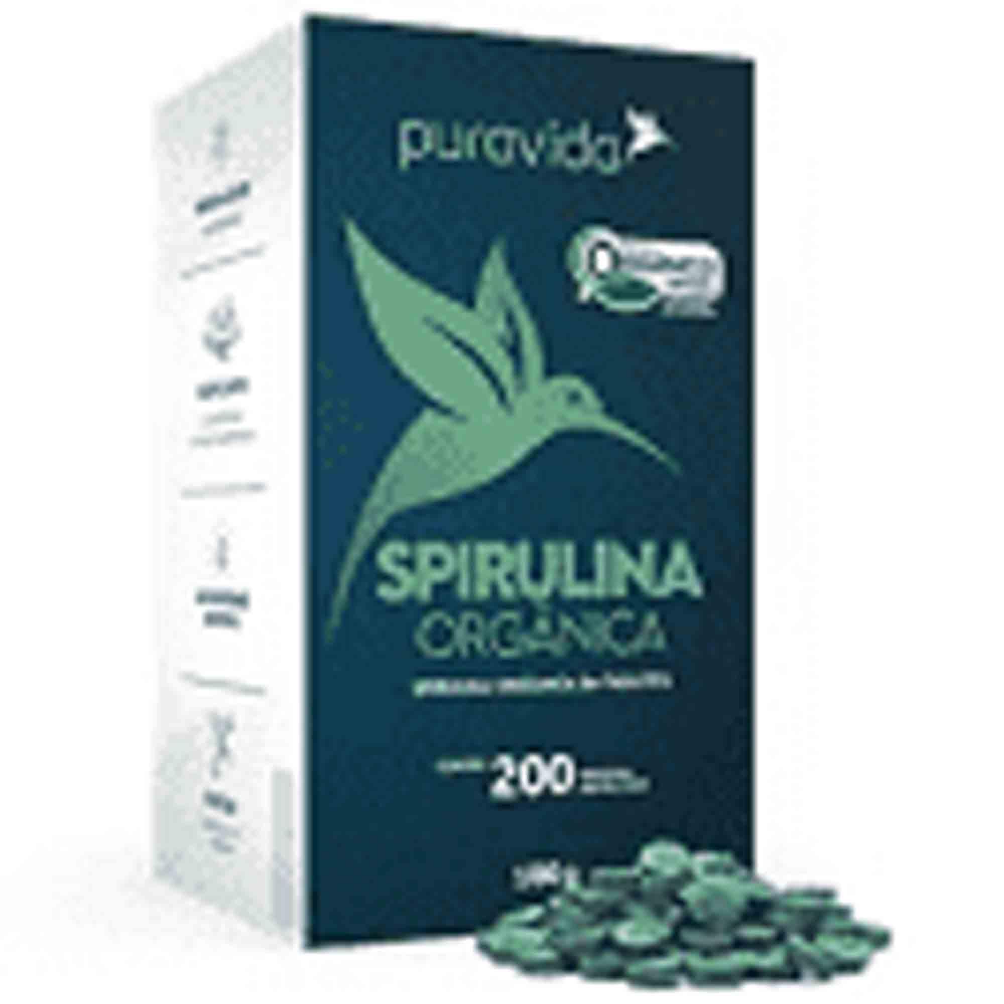 Spirulina Orgânica Premium 200 Tabl 100g Pura Vida