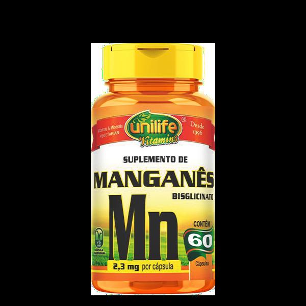 """UNI MANGANES QUELATO 500 MG """"MN"""" - 60 CAPS Unilife"""