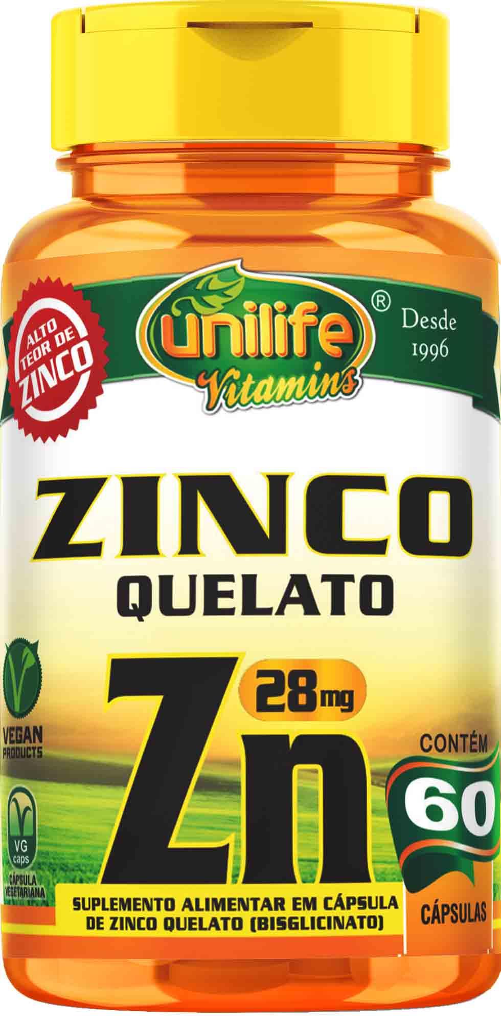 """UNI ZINCO QUELATO """"ZN"""" 600 MG - 60 CAPS Unilife"""