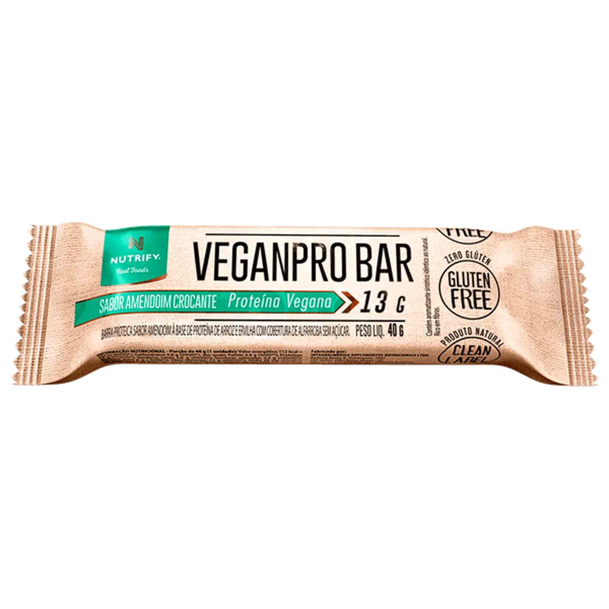 Veganpro Bar sabor Amemdoim Crocante 13g Nutrify