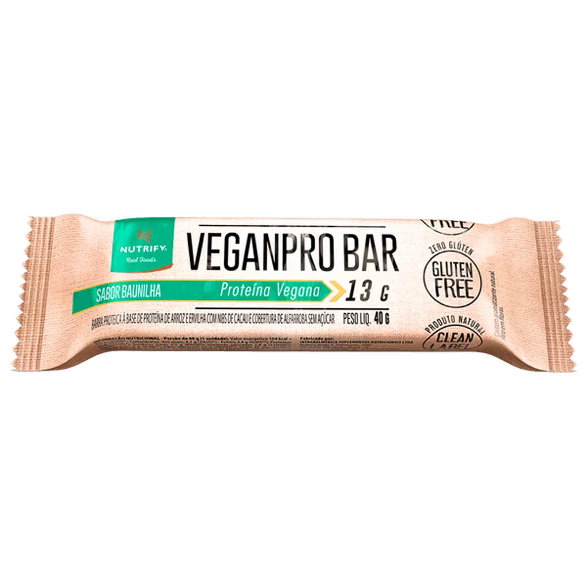 Veganpro Bar sabor Baunilha c/ Nibs de Cacau 13g Nutrify