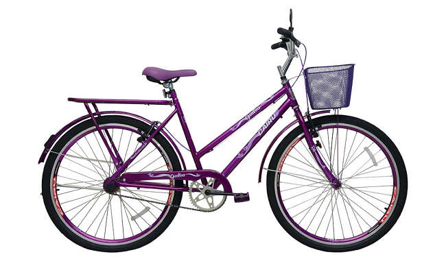Bicicleta Aro 26 Cairu Genova 1 Marcha Freio V-Brake com Cestinha - Roxo