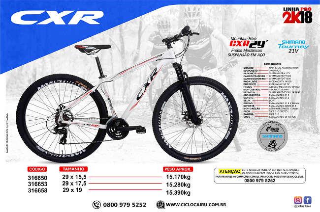 Bicicleta Aro 29 Cairu AL CXR 21 Marchas Freio a Disco em Alumínio - Bco/Pto/Verm