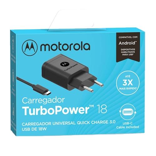 Carregador De Parede Motorola Turbo Power 18w - Com Cabo Usb-C - Preto