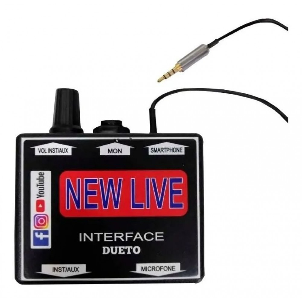 Interface de Áudio New Live Dueto com Conexão P2 para Smartphone