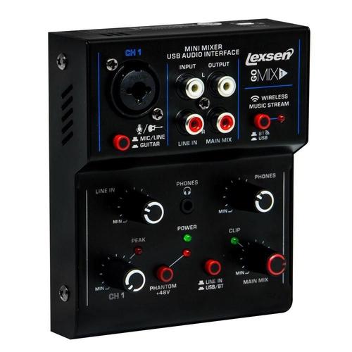 Mesa de Som Lexsen com Interface de Áudio GoMix1