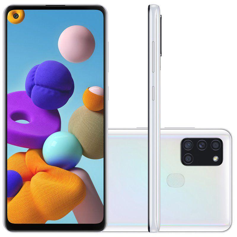 "Samsung Galaxy A21s 6,5"" Dual Chip 64GB 4GB RAM Branco Octa Core Câmera Quádrupla 48MP Selfie 13MP"