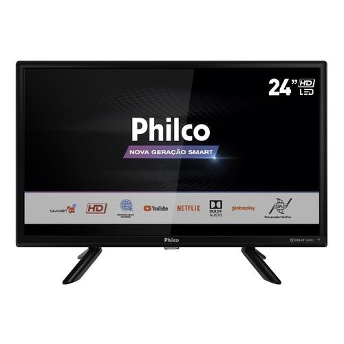 """Smart Tv Philco 24"""" Resolução Em Hd Fast Smart Com Processador Quadcore - Ptv24g50sn Led"""
