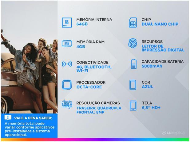 "Smartphone Samsung Galaxy A12 64GB Azul 4G - Octa-Core 4GB RAM 6,5"" Câm. Quádrupla + Selfie 8MP"