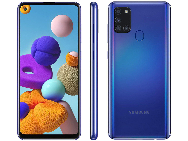 Smartphone Samsung Galaxy A21s 64GB 4G Wi-Fi Tela 6.5'' Dual Chip 3GB RAM Câmera Quádrupla + Selfie 13MP - Azul