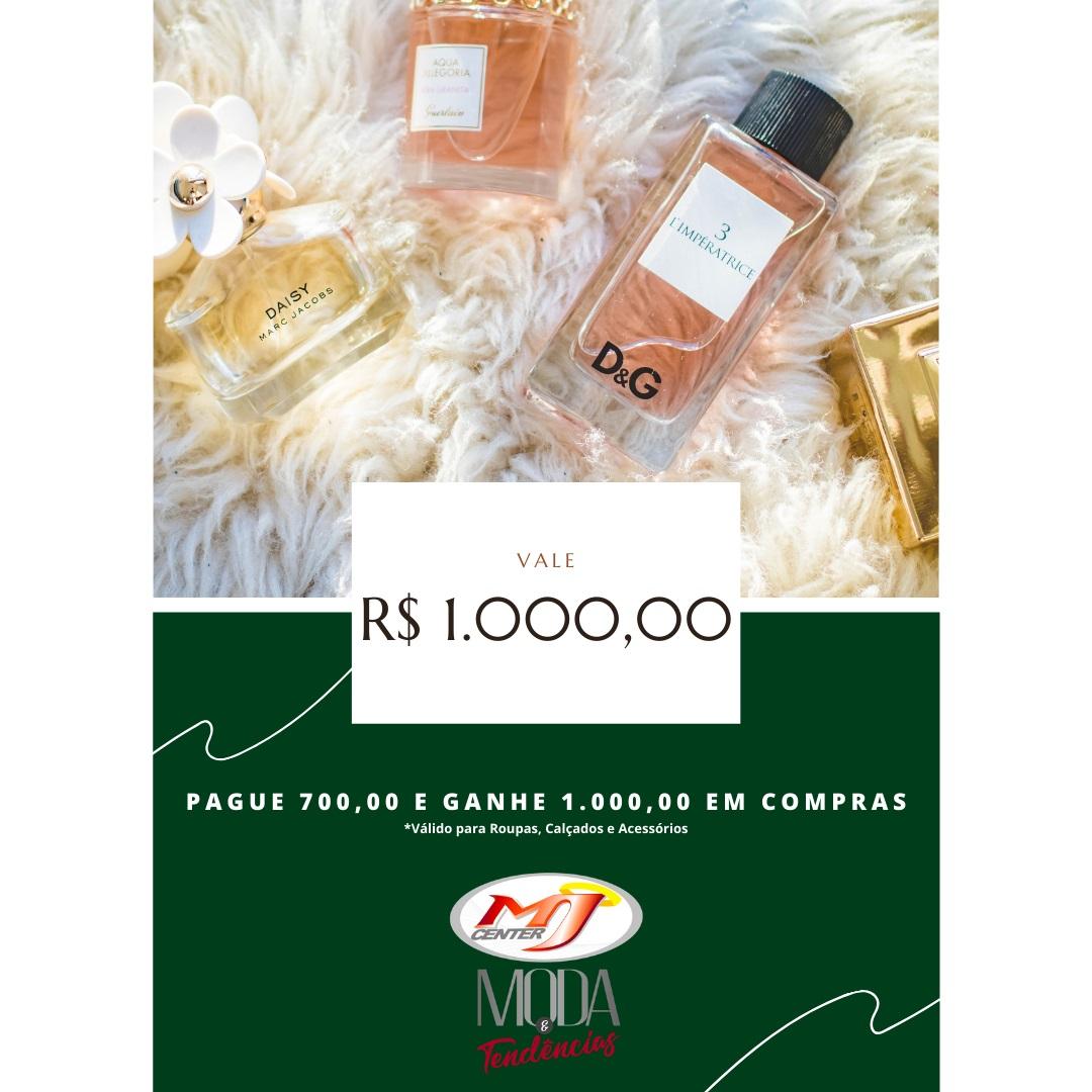 Vale Compras Ouro - Pague R$ 700,00 e ganhe R$ 1.000,00 em crédito para sua compra em Roupas, Calçados e Acessórios.