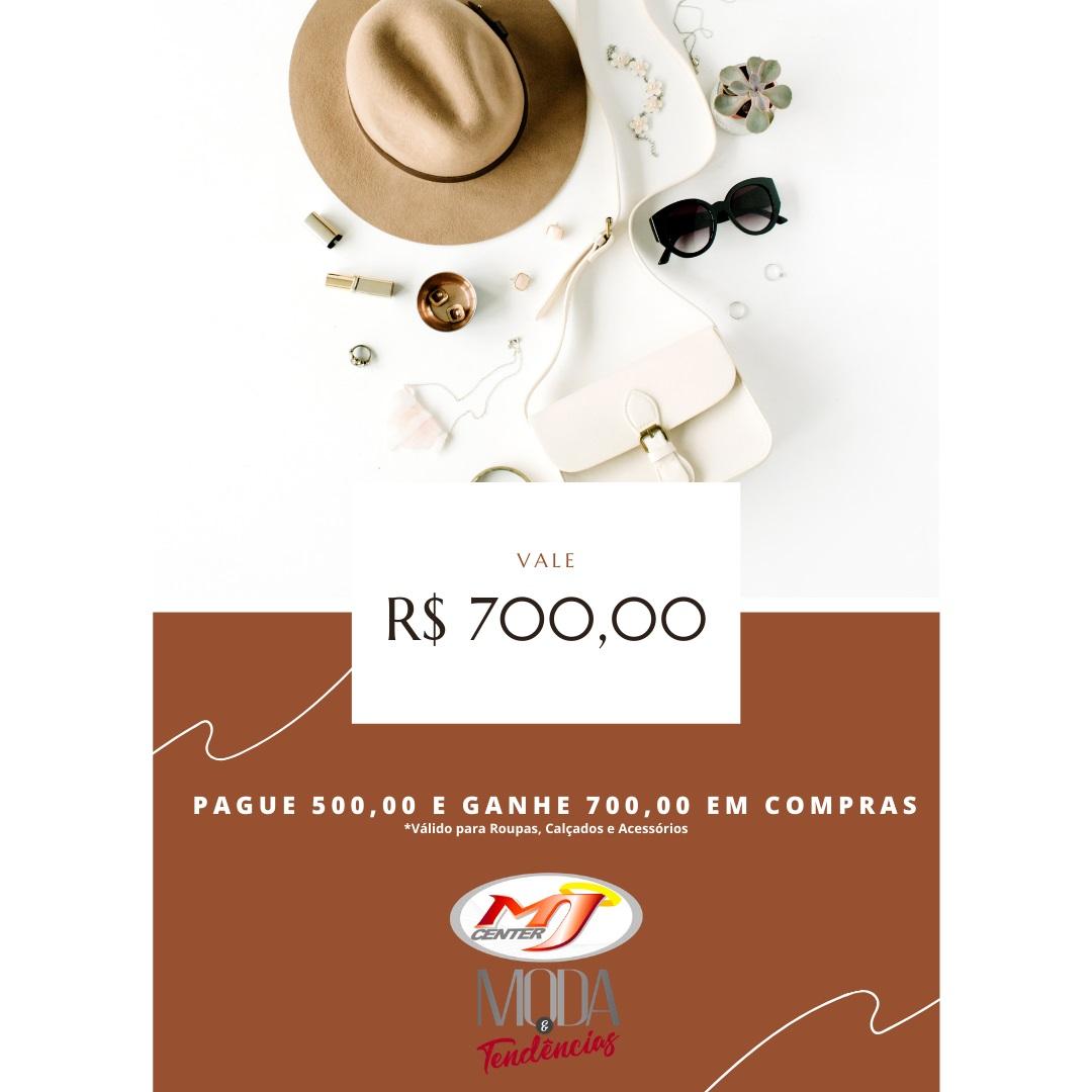 Vale Compras Prata - Pague R$ 500,00 e ganhe R$ 700,00 em crédito para sua compra em Roupas, Calçados e Acessórios.