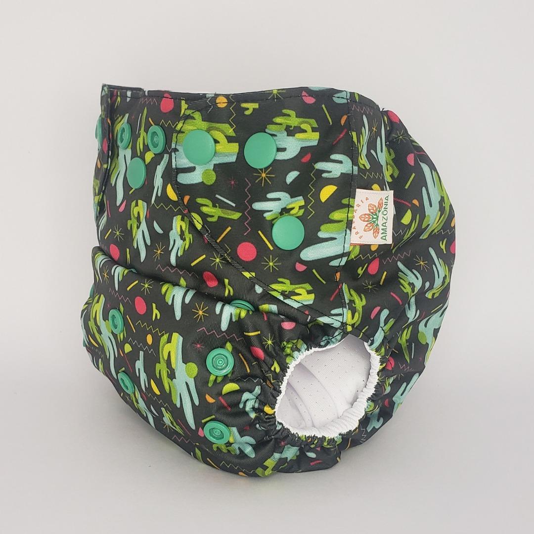 Capa para Fralda Ecológica Diurna de Bolso (Pocket) - Cactos - Chá de fraldas