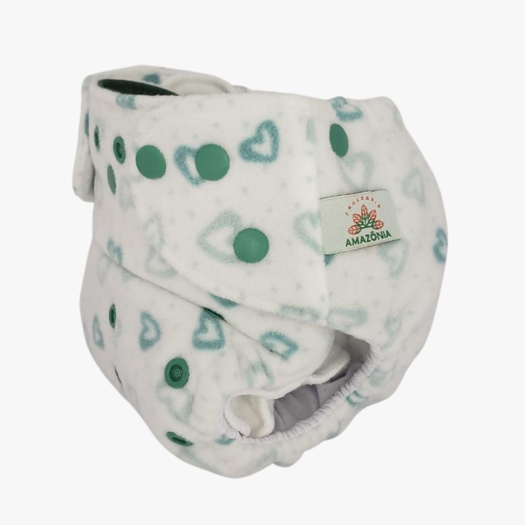 Capa para fralda ecológica Noturna - Corações verdes - Chá de fraldas