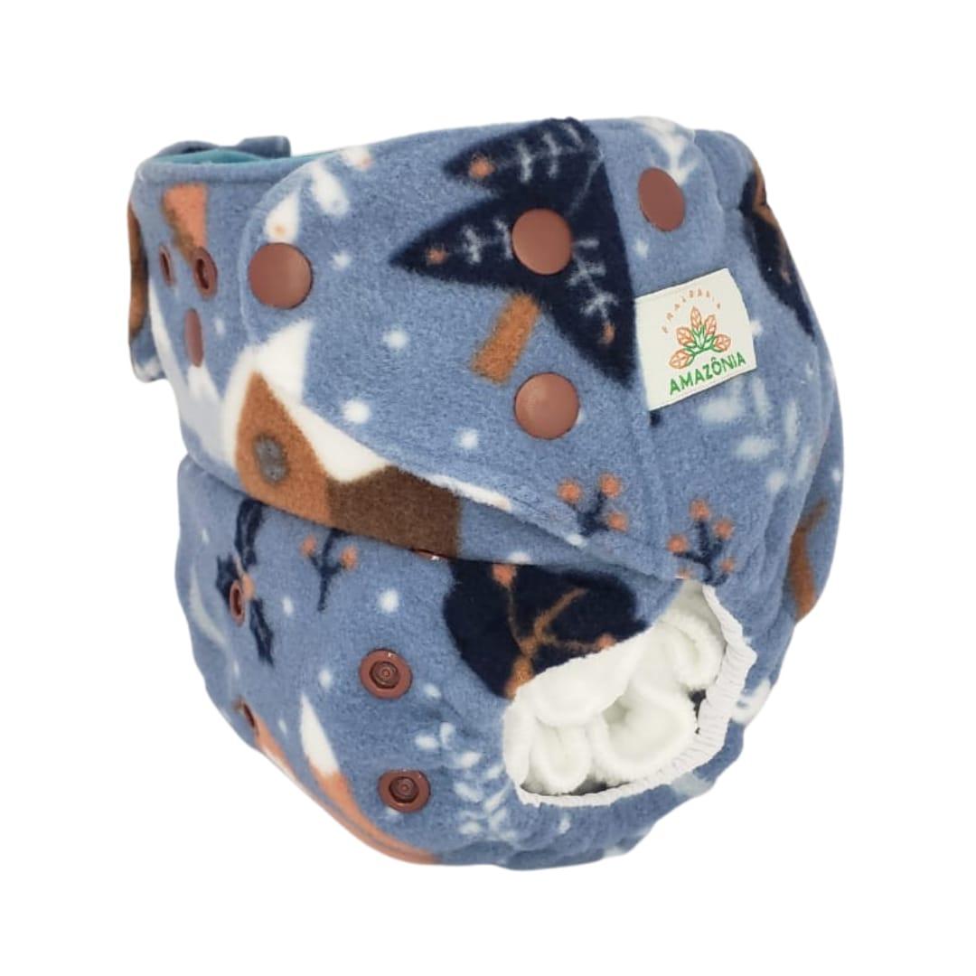 Capa para fralda ecológica Noturna - Raposa fundo Azul