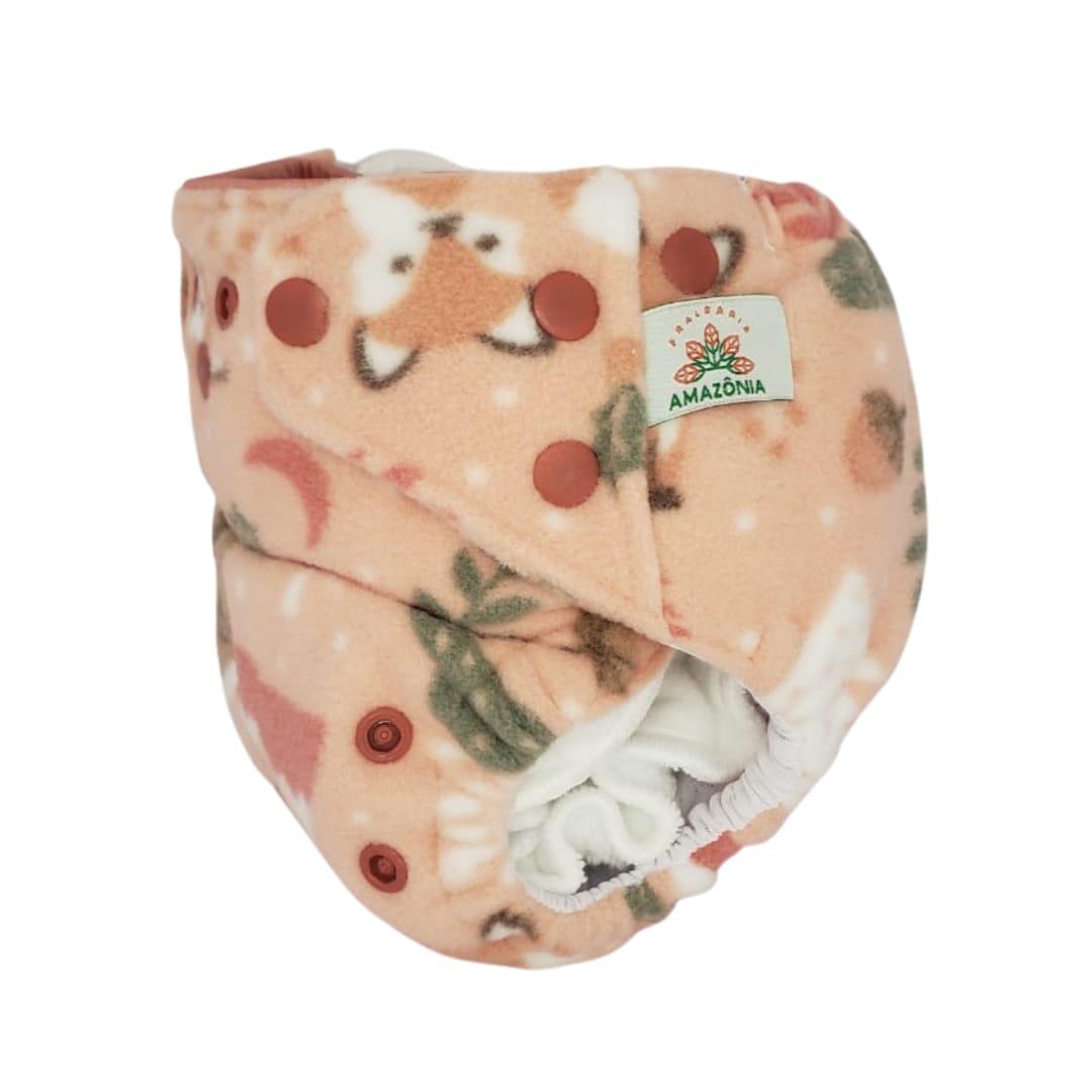 Capa para fralda ecológica Noturna - Raposa fundo Rosa