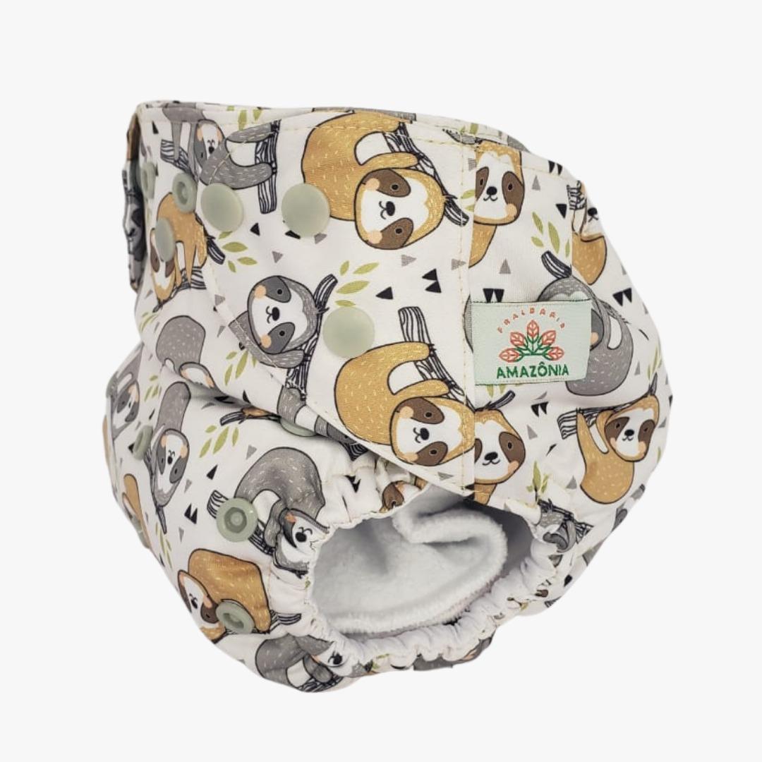 Fralda ecológica AIO - Preguiça - Chá de fraldas