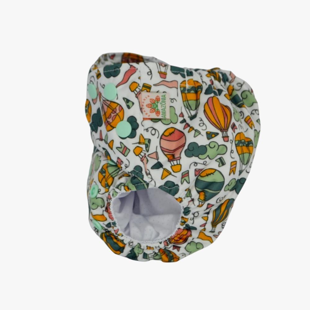 Fralda Ecológica Diurna 2 em 1 com dois absorventes - Balões