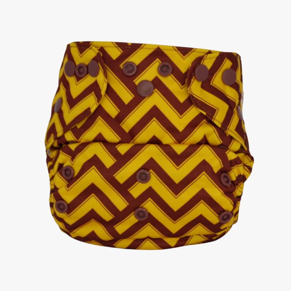 Fralda Ecológica com 2 absorventes -  Geométrica Amarelo e Marrom- Modelo 2 em 1