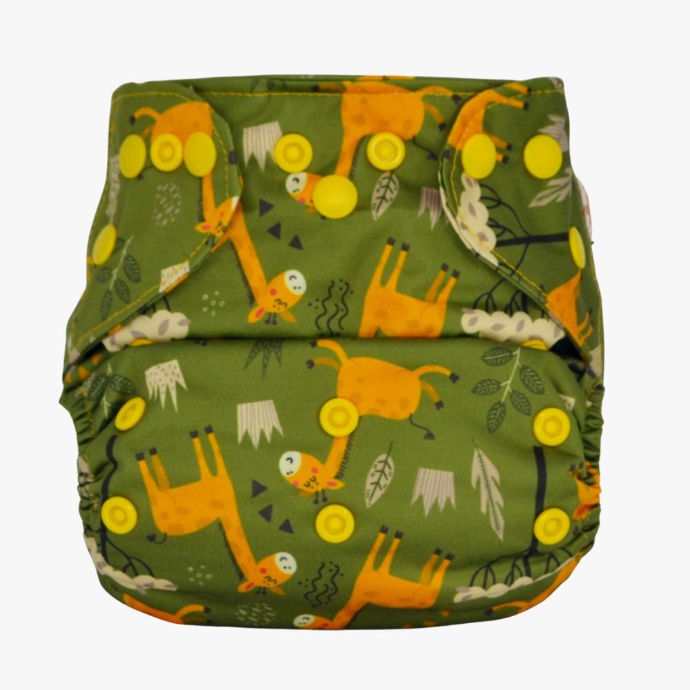 Fralda Ecológica com 2 absorventes - Girafa - Modelo 2 em 1