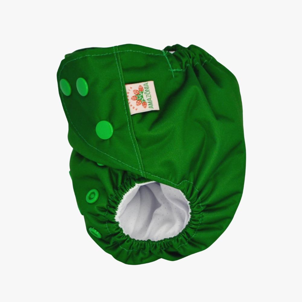 Fralda Ecológica Diurna 2 em 1 com dois absorventes  - Verde