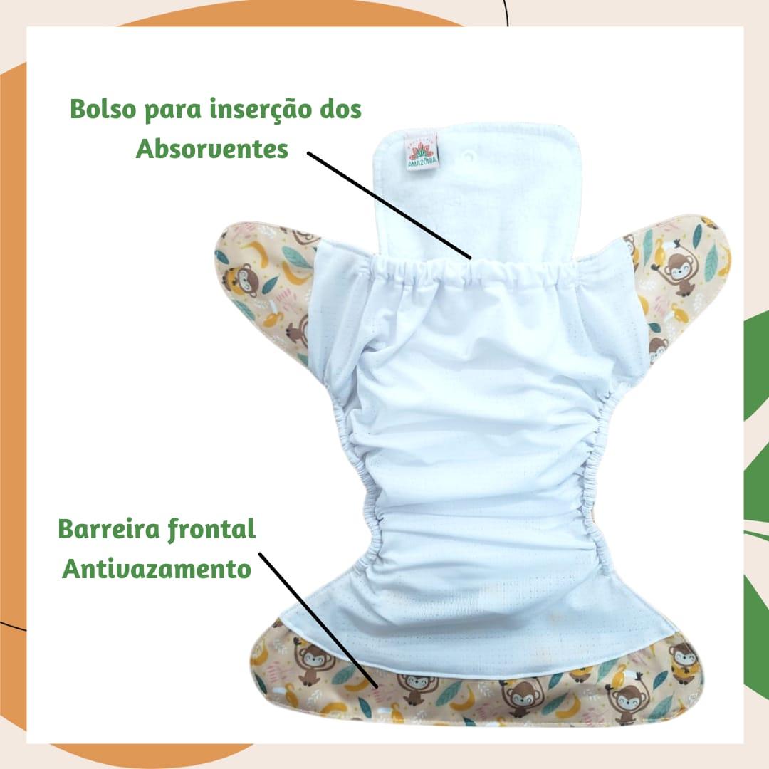 Fralda Ecológica Diurna de  Bolso (Pocket) com 2 absorventes  - Dinos
