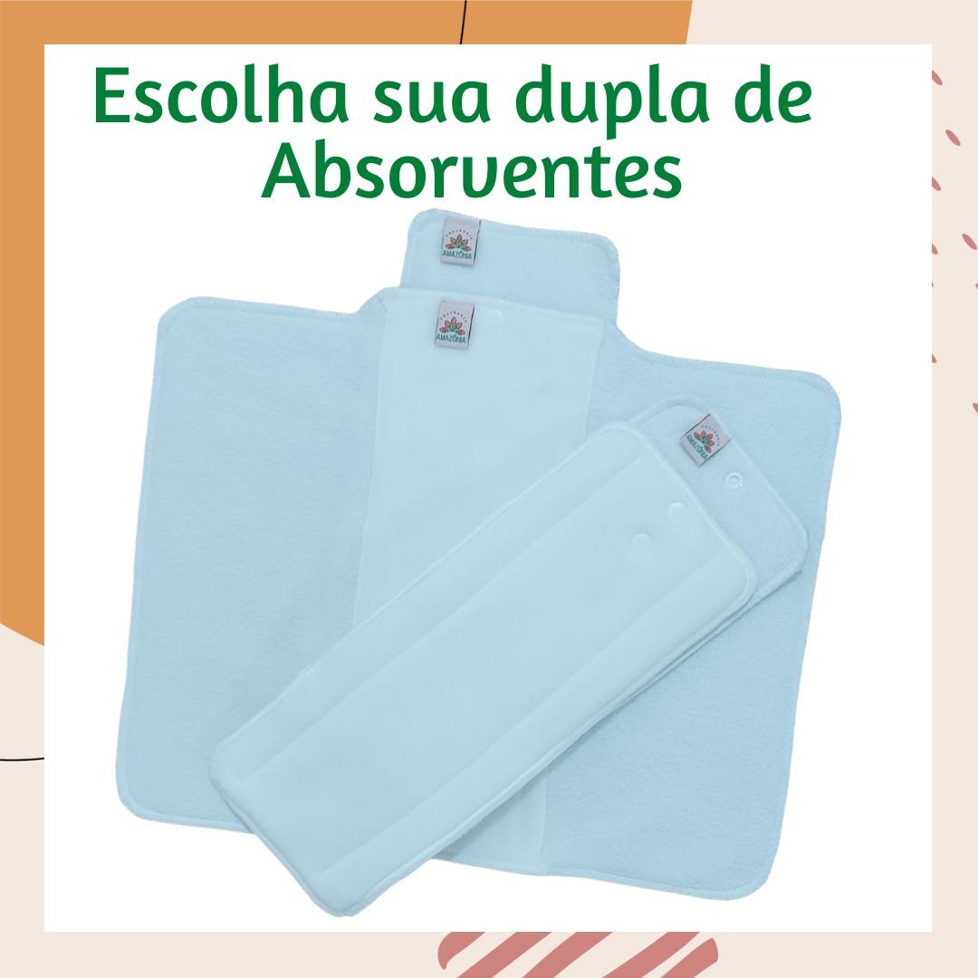 Fralda Ecológica com 2 absorventes - Caramelo - Modelo 2 em 1