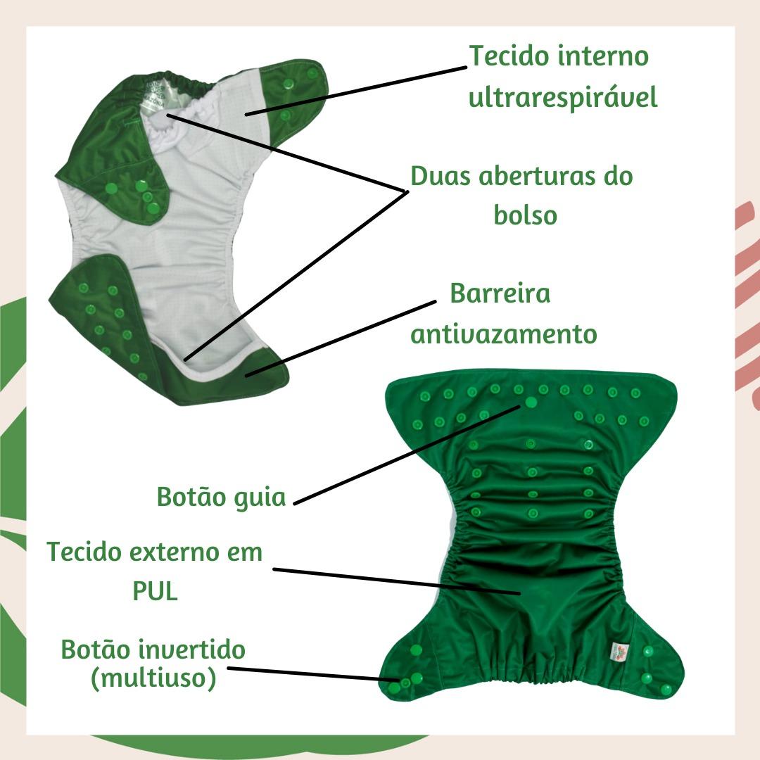 Fralda Ecológica Diurna 2 em 1 com dois absorventes - Dinos