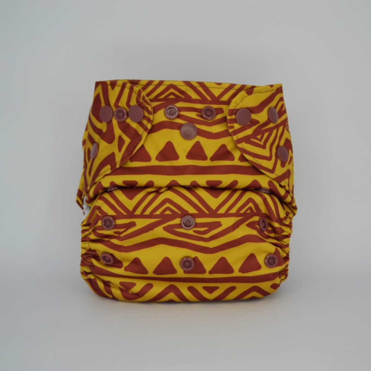 Fralda Ecológica Diurna 2 em 1 com dois absorventes - Pintura Indígena