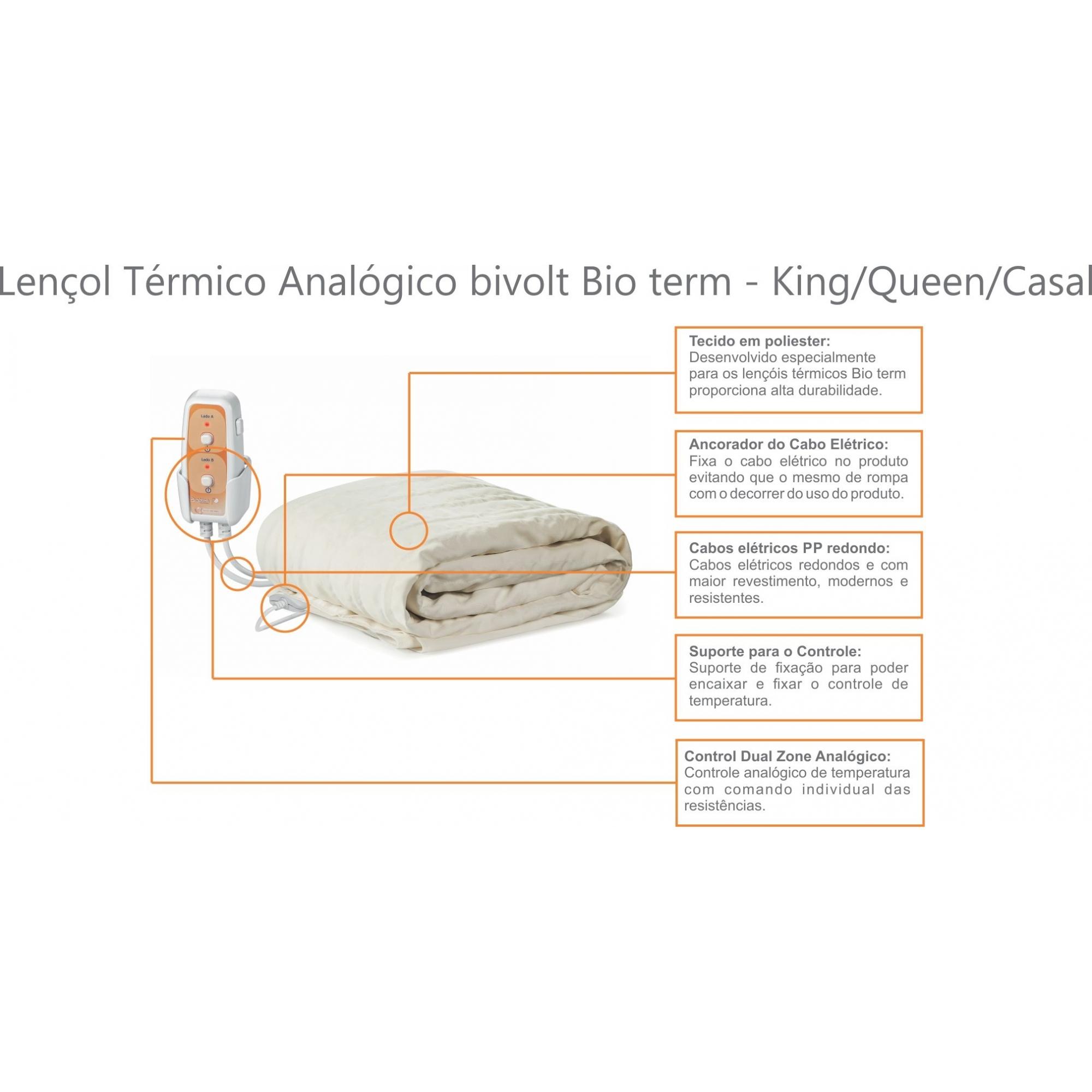Lencol Térmico King Size Analógico Bivolt Automático Bio Term