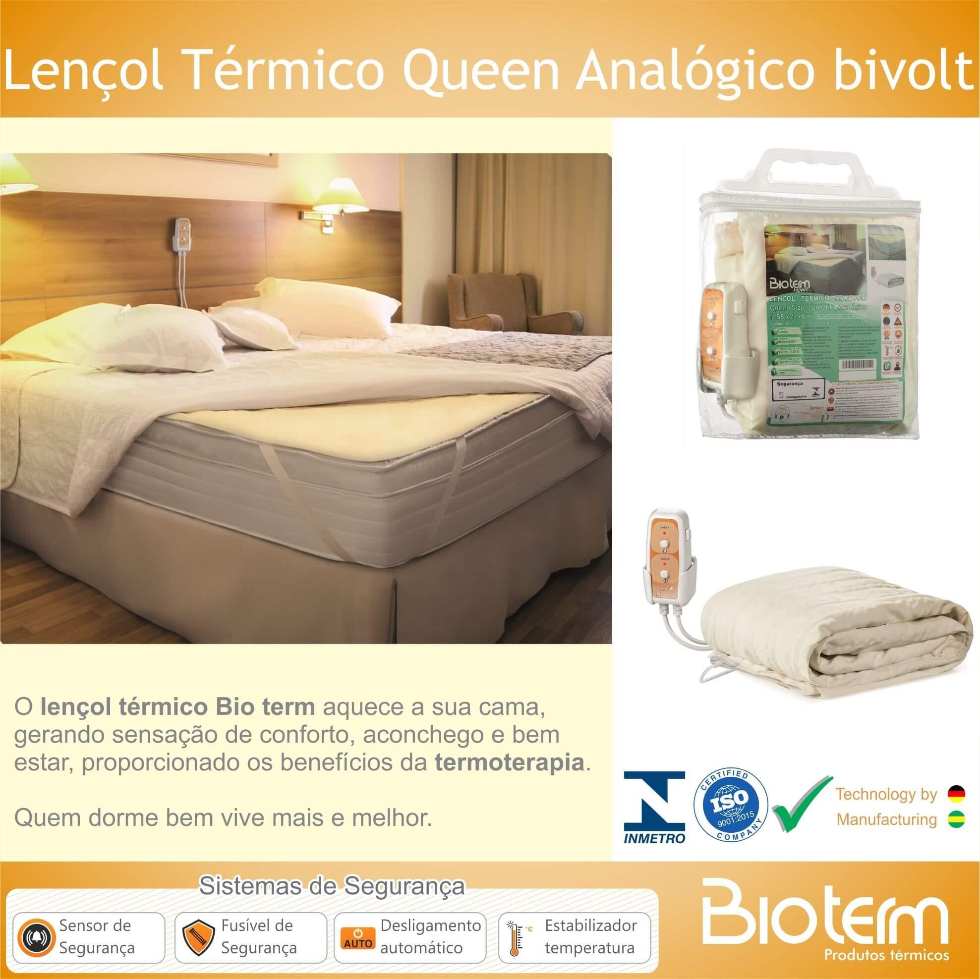 Lençol Térmico Queen Size Analógico Bivolt Automático Bio Term