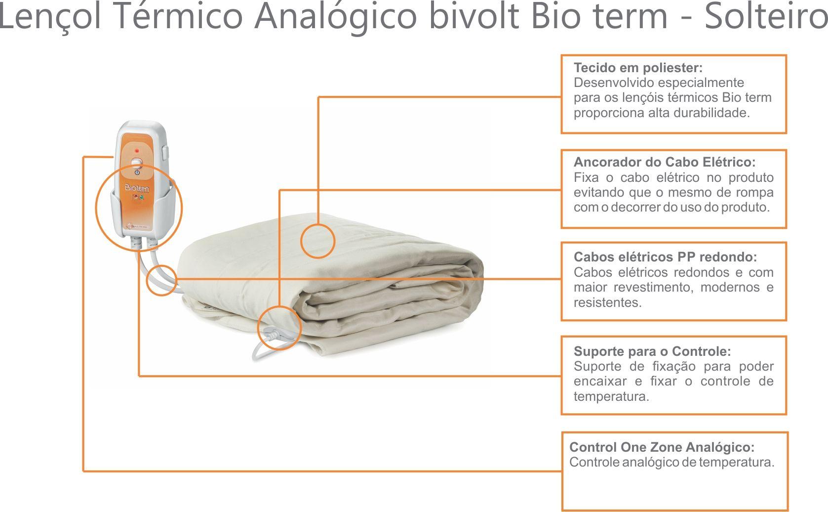 Lençol Térmico Solteiro Analógica Bivolt Automático Bio Term