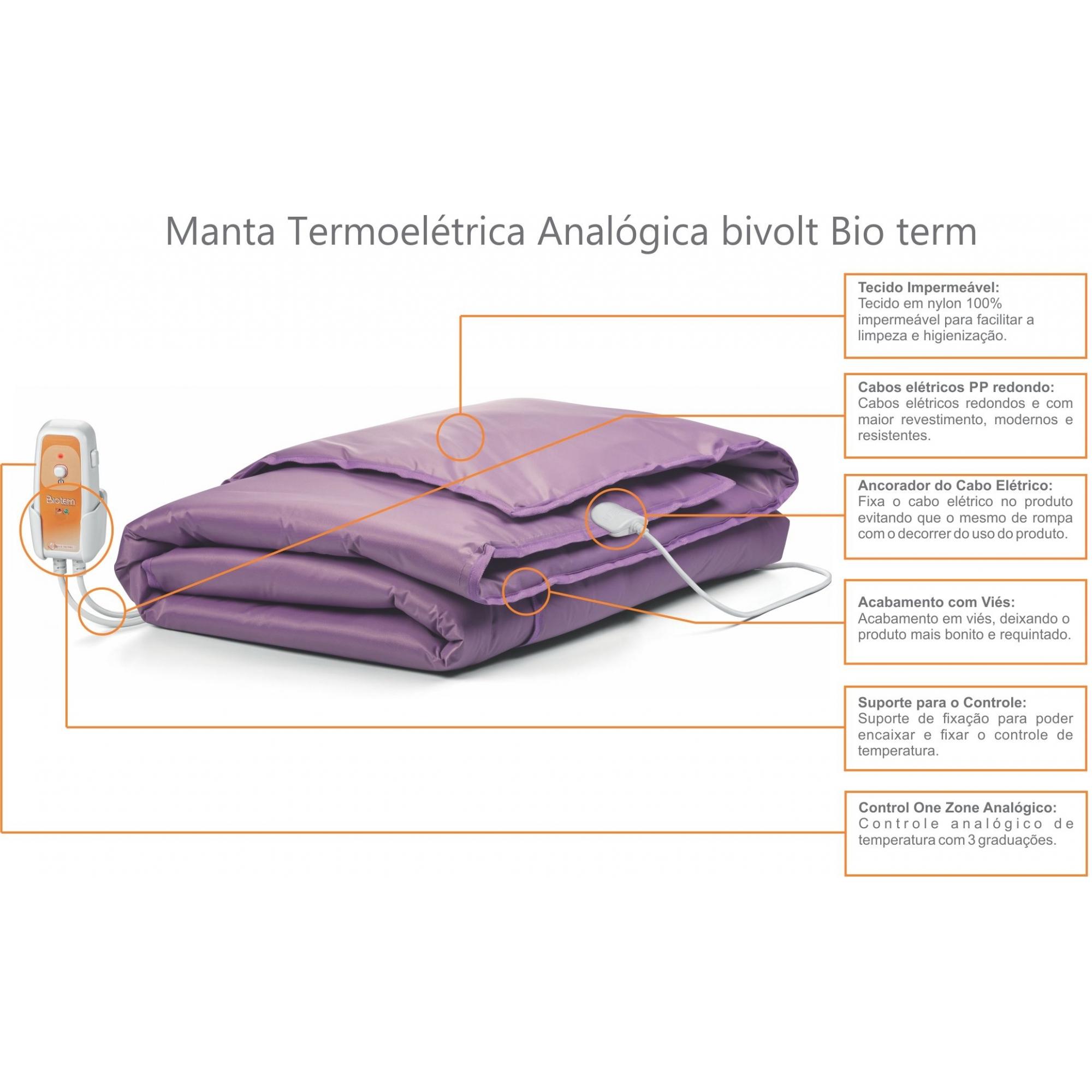 Manta Termoelétrica Corpo Inteiro Analógica Bivolt Automático Bio Term