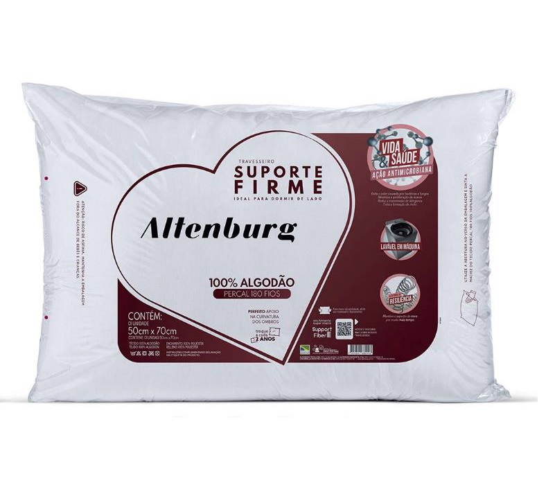 Travesseiro Altenburg Suporte Firme 180 fios Branco - 50cm x 70cm