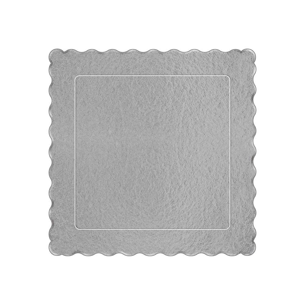 100 Bases Laminadas Para Bolo Quadrado, Cake Board 20x20cm - Prata