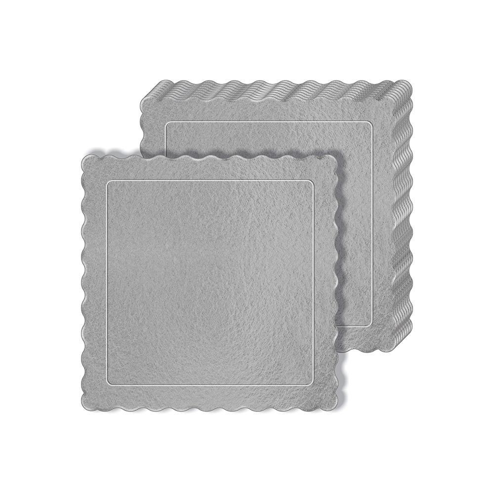 100 Bases Laminadas Para Bolo Quadrado, Cake Board 25x25cm - Prata