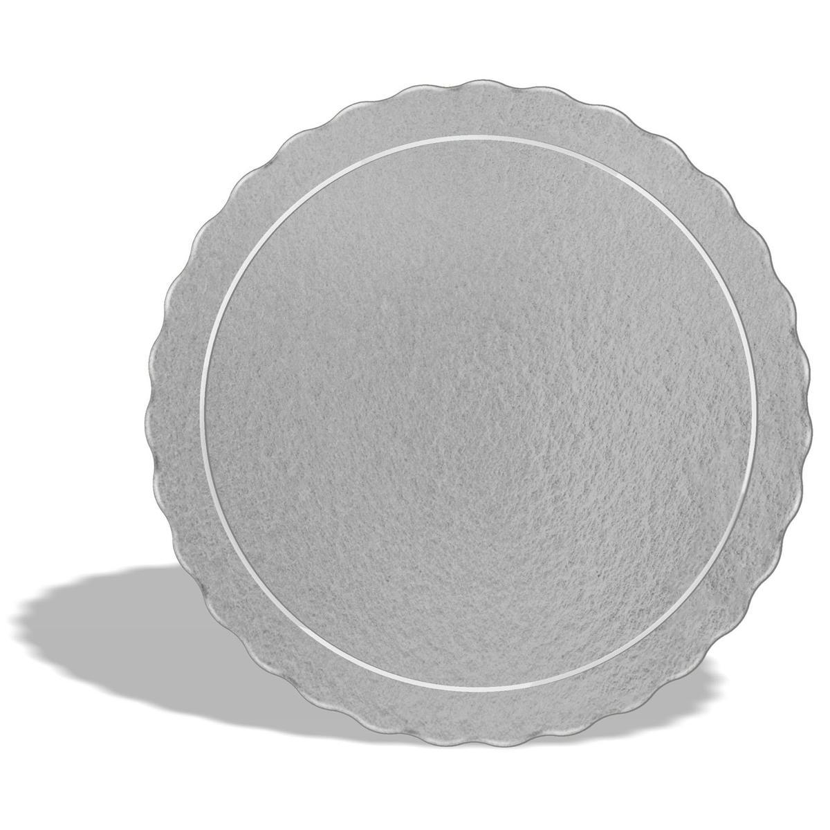 100 Bases Laminadas Para Bolo Redondo, Cake Board 32cm - Prata